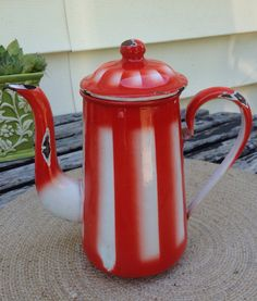 Red Stripe Enamelware Coffee Pot  by ShopCandy on Etsy, $95.00
