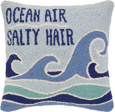 Ocean Air Salty Hair Hook Pillow: Beach Decor, Coastal Decor, Nautical Decor, Tropical Decor, Luxury Beach Cottage Decor
