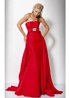 29142ff5661 Unique A-line Satin Sleeveless Strapless Court Train Prom Dresses - Wedding  Dresses Evening Dresses