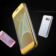 Luxury PLATING SERIES smart sleep awake For Samsung S7 Flip Cover Electroplate Mirror visible window Case For Samsung S7 edge/S7