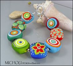 Bright Lights Lampwork glass bead Bracelet by by MichouJewelry, $209.00