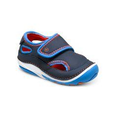Stride Rite Crash Water Sandal in Navy/Orange. #striderite #crashwatersandal #navy #ornage #watersandal #babyboysshoes #baby #boys #sandals