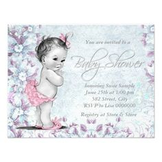 Adorable Vintage Pink and Purple Baby Shower Invite! Make your own invites more personal to celebrate the arrival of a new baby. Just add your photos and words to this great design.