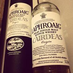 Laphroaig Cairdeas Origin Whisky Bottle and Tube.