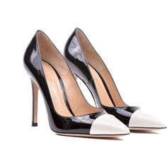 Gianvito Rossi Gianvito Mettalic Point Pumps ($275) ❤ liked on Polyvore featuring shoes, pumps, verofne white black, pointed shoes, black and white pumps, black white pumps, pointed-toe pumps and genuine leather shoes
