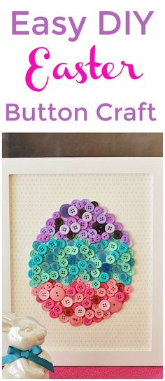 DIY Easter Button Craft with free Template. This pretty framed DIY Button egg is easy to make and will look so cute as part of your spring and Easter decor! | Favorite Findings Buttons found at Wal-Mart and JoAnn stores: two bags of the teal/coral color buttons for the teal section, One bag of the purple buttons and one bag of pink – all 130 count. If you want an additional third level of buttons, I'd suggest buying another bag of each color.