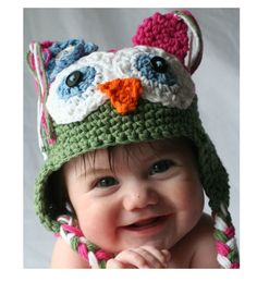 Pink and Green Crochet Owl Hat by honeybeehats on Etsy, $24.50