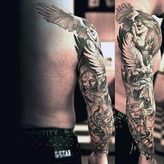 Full Sleeve Angel Tattoos For Men   tatuajes | Spanish tatuajes  |tatuajes para mujeres | tatuajes para hombres  | diseños de tatuajes http://amzn.to/28PQlav