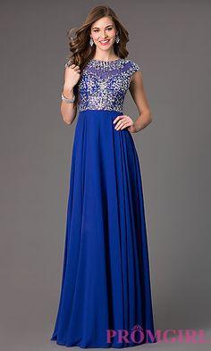 Floor Length Cap Sleeve Prom Dress at PromGirl.com
