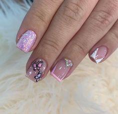 Glam Nails, Neon Nails, My Nails, Beauty Nails, Disney Acrylic Nails, Disney Nails, Manicure Nail Designs, Nail Manicure, Work Nails