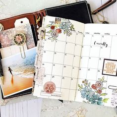 I have been working with my monthly insert from our new Traveler's Journal collection, adding beautiful ephemera, stamping, water-coloring and other fun ideas to personalize your everyday life on the go. I still have more work to do in it but I am loving it so far! @carifennell #myprimaplanner #plannerlove #primatravelerjournal #travelersnotebook #travelerjournal #primamarketing #christineadolphdesign #floralstamps