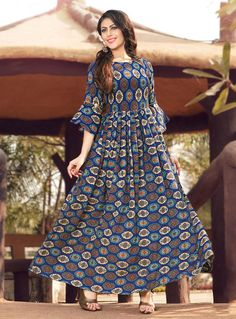 Buy Gorgeous Royal Blue Colored Party Wear Printed Rayon Gown at Rs. Cotton Gowns, Cotton Long Dress, Long Gown Dress, Simple Gown Design, Long Dress Design, Kurta Designs Women, Blouse Designs, Printed Kurti Designs, Simple Kurti Designs
