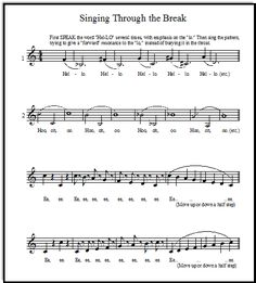 Vocal Warm-Up Exercises to encourage your voice students to sing through the break smoothly, FREE printable sheet music!