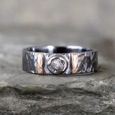 Men's Raw Diamond Ring – Black Sterling Silver – 14K Rose Gold Accent Bars – Rustic Texture – Wedding Band – Commitment Rings