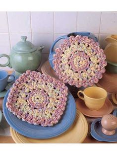 Crochet - For the Home - Kitchen Decor - Spring Trivets - #FC00400