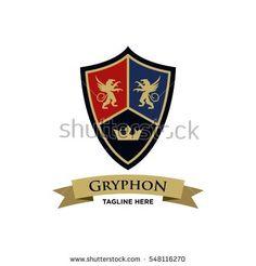 Gryphon medieval logo design. Royal logo design