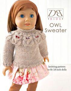 Doll clothes knitting pattern PDF for 18 inch von DBDollPatterns