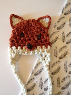 Fox Crochet Hat by Nooches on Etsy Would be so easy to duplicate, just a puff stitch