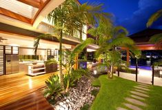 Chris Clout Design / Resort house in Noosa Waters Aus pool landscaping kitchen outdoors tropical luxury living holiday home