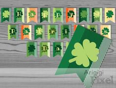 Happy St. Patrick's Day Printable Banner, party bunting, green lucky clover, photo prop, digital download, ready to print PDF file by ArigigiPixel on Etsy