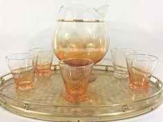 Vintage Blendo Orange Pedestal Cocktail Pitcher And Shot Glasses 6 Piece Set, Mid Century Barware, Retro Blendo by LakesideVintageShop on Etsy