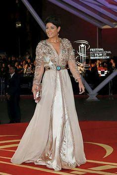leila Hadioui wearing a beautiful Moroccan Takchita Caftan