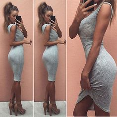 Sexy Women Summer Sleeveless Bandage Bodycon Grey Party Slim Short Mini Dress Clubwear