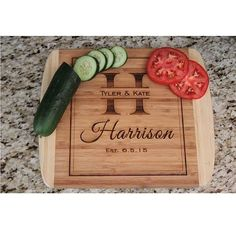 Our Personalized Large Bamboo Cocktail Cutting Boards are a fantastic price today. It's the perfect opportunity to order one for everyone you know :). You'll love the beautiful Harrison style which adds a touch of elegance to your home, or to someone you love. Customize with the couplesÍ first names, last name, last initial, and anniversary.This will look beautiful in your home whether on display or while in use! They are also perfect gifts any time of the year: Including Weddings, Bridal…