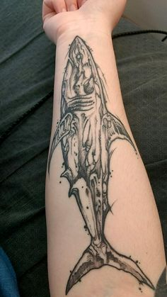 Shark tattoo, Artist Eric Adkins from Evolved in Columbus Ohio