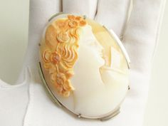 Huge Art Deco Hand Carved Shell Cameo Brooch by GrandVintageFinery
