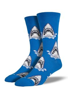 Have no fear while wearing Socksmith shark socks. You're bound to befriend any and all toothy marine life with a pair of these! Shark Socks, Shark Jaws, Sharks, Crazy Socks, Cool Socks, Men's Socks, Mens Novelty Socks, Blue Socks, Sock Animals