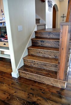 Circle Sawn Douglas Fir Flooring - Sustainable Lumber Company - Circle Sawn Douglas Fir Flooring – Sustainable Lumber Company Rough Sawn Doug Fir stair parts Hardwood Floor Colors, Hardwood Stairs, Light Hardwood Floors, Wood Floor Stairs, Wooden Stairs, Rustic Staircase, Staircase Design, Staircase Ideas, Types Of Wood Flooring
