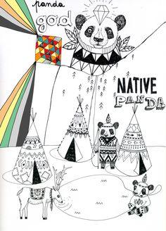 allestudio.blogspot.com  #panda#art#illustration#tend#montain#native#white#ink