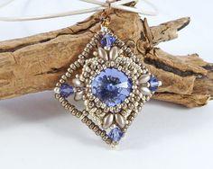 Tanzanite Diamond Beaded Pendant  Swarovski by BeauBellaJewellery #Swarovski #necklace