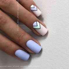 Lovely Early Spring Short Nails Art Design And Colors Ideas - Page 109 of 109 - Nageldesing - Nageldesign Best Acrylic Nails, Acrylic Nail Designs, Designs On Nails, Nails Design, Nail Design For Short Nails, Blue Nails With Design, Blue Nail Designs, Simple Nail Art Designs, Best Nail Art Designs