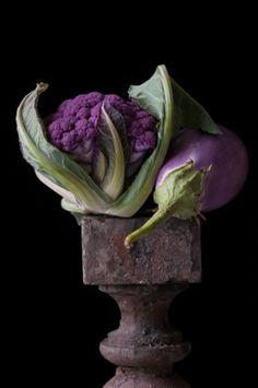 Eggplant with Cauliflower by Lynn Karlin {coastal collage BDN blog}