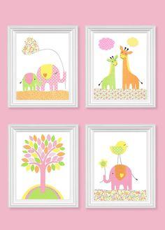 Green Pink Yellow Orange Nursery Art by SweetPeaNurseryArt on Etsy Turtle Nursery, Giraffe Nursery, Nursery Art, Nursery Decor, Nursery Ideas, Orange Nursery, Toddler Art, Baby Room Decor, Pink Yellow