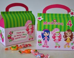 Strawberry Shortcake inspirado caja del favor por GlitterInkDesigns