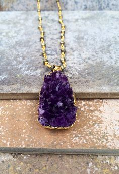 ICY // Amethyst Crystal Cluster and Pyrite Rosary by ShopParadigm, $142.00