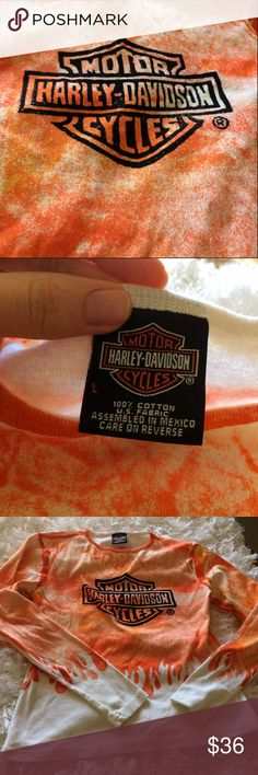 """Harley Long Tee Zion Tee Women's Large Says """"St. George Zion Utah"""" on the back. 22"""" long, 24"""" sleeve, 19"""" armpit to armpit. Harley-Davidson Tops Tees - Long Sleeve"""
