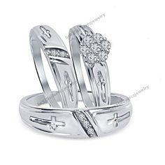 10K White Gold 1.1/9CT Diamond Ring Wedding Band His Hers 3Pcs Trio Ring Set | eBay