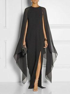 Solid Chiffon Cape Sleeve High Slit Dress