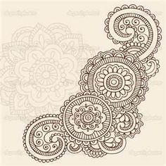 Hand Drawn Abstract Henna Mehndi Tattoo Mandala Flower Doodle Vector