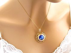 Sapphire Blue Crystal Necklace, Gold Bridal Necklace With Rhinestones Swarovski Blue Crystal Pendant, Sparkly Royal Blue Bridesmaid Necklace by mwhitejewelry on Etsy