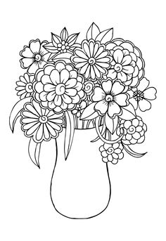 Coloring Pages of Flowers — Happies Valentine Coloring Pages, Spring Coloring Pages, Printable Adult Coloring Pages, Cute Coloring Pages, Mandala Coloring Pages, Coloring Books, Free Coloring, Colorful Flowers, Spring Flowers