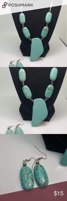 Cute turqoise necklace with earring set J-87 Cute necklace with earring set Jewelry Necklaces