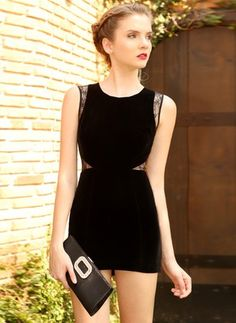Lace Polyester Solid Sleeveless Mini Sexy Dresses