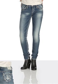 silver jeans co. Aiko destructed skinny jeans (original price, $92) available at #Maurices