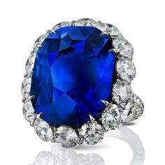 A stunning cushion-shaped sapphire and white diamond #LEVIEV ring totaling 37.62 carats