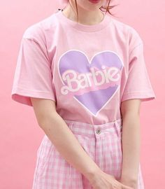 Cheap pink tshirt, Buy Quality print shirt directly from China tshirt pink Suppliers: 2017 summer kawaii cute sweet harajuku wego heart Barbie print shirt pink tshirt 4 colors tops women Pastel Outfit, Pink Outfits, Pretty Outfits, Cool Outfits, Harajuku Fashion, Kawaii Fashion, Cute Fashion, Fashion Outfits, Ulzzang Fashion